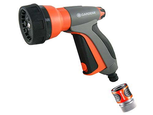 Gardena 32121 Control Metal Multi-Purpose 7-in-1 Spray Gun with Built in Flow Contro, Orange
