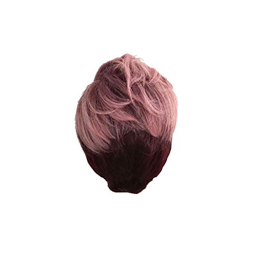 IslandseHot Short Sexy Wig Front Wavy Fashion Black Women Curly Pink Synthetic Wigs ()