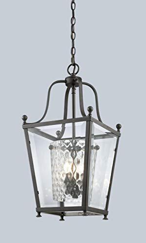 Z-Lite 179-4 Ashbury 4 Light Pendant, Metal Frame, Bronze Finish and Clear Beveled Glass Outside
