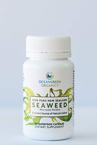 Seaweed Kelp Supplements New Zealand |Premium 100% Pure Organic | Strongest Iodine 500mcg | Traceable | Oceangreen Organics | Thyroid Support, Gut Health, Greater Energy & Weight Loss | 60 Vege Caps (Organic Iodine Supplement)
