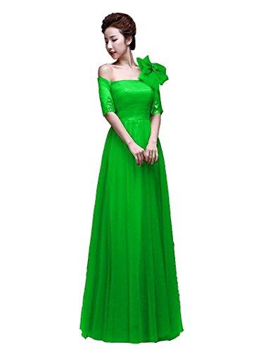 Lange Linie A Hülsen halbe Emily Paillette One Beauty Abendkleider Mint Bowknot Shoulder FqCSAZ