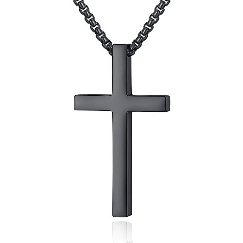 Reve Simple Stainless Steel Cross Pendant Necklace for Men Women, 20''-24'' Rolo Chain, Silver/Gold/Black (Black Tone: 24'' Chain)