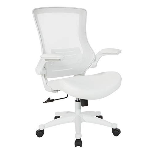 Office Star Screen Back Manager's Chair, White Faux Leather