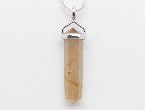 Rutile Quartz Pendant - Fundamental Rockhound: Natural Gold Rutilated Quartz (Rutile) Pendant Necklace with 18
