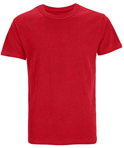Men's Heavyweight Cotton Thick Soft T-shirts (M, Red)