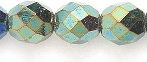 Preciosa Czech Fire 8mm Polished Glass Bead, Faceted Round, Green (Iris Glass Beads)