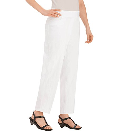 Twill Crop (Collections Etc Women's Slimming Twill Pull-On Crop Pant, White, Medium - Made In The USA)