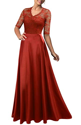 Mmondschein Women's Vintage Floral Wedding Bridesmaid Evening Long Dress Orange XL (Burnt Orange Bridesmaid Dresses)
