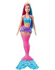 Barbie GJK08 - Barbie Dreamtopia Zeemeerminpop, 30 cm, roze en blauw haar, meerkleurig