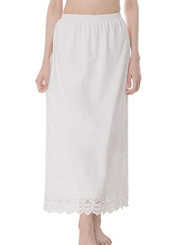 GRACE KARIN Long Underskirt Layered Half Slip for Women(XXL, White) (Cotton Slip Waist)