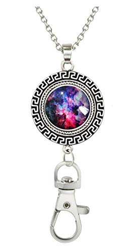 COW GO GO Image Custom Women Office Lanyard ID Badges Holder Necklace Keychain with Glass Snap Charms Clip (Nebula and Galaxies in Space) (Lady Image)