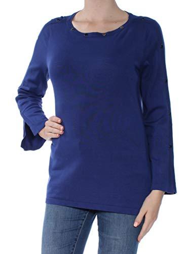 Alfani Womens Embellished Jewel Neck Pullover Sweater Blue M
