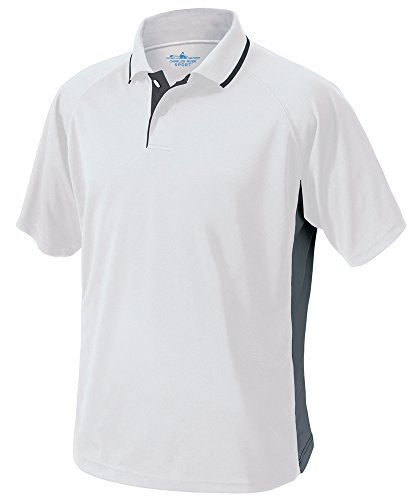 Charles River Apparel Men's Color Blocked Wicking Polo, White/Slate Grey, 5X-Large