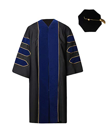 GraduationForYou Deluxe Doctoral Gown and 8-Sided Tam Set - Doctoral Cap Gown
