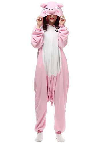 Women Men Pig Unisex Adult Animal Sleep Suit Cosplay Kigurumi Costume Pajamas Outfit Costume Nightclothes Onesies Clothing Pajamas Tracksuit (M (Height:5'3''-5'7''/160cm-169cm), Pink - Ship And Usps Track