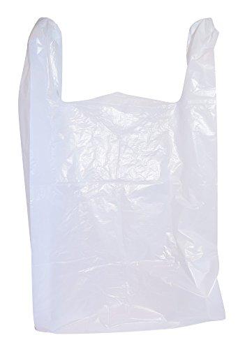 200 Large Plastic Grocery T-Shirt Bags - Plain White 12