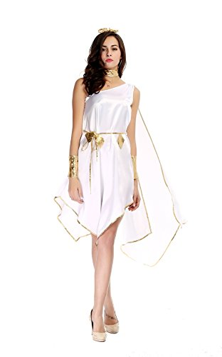 Sinastar Halloween Greek Goddness Cosplay White Costume Dress-up Party Ball Uniforms -