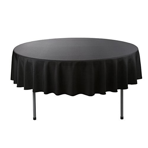E-Tex 90-Inch Round Polyester Tablecloth Black