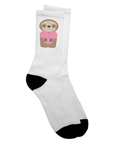 Tooloud Cute Valentine Sloth Holding Heart Adult Crew Socks - Select Your Size -