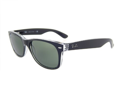 New Ray Ban RB2132 6052 Black+ Clear/Crystal Green 55mm Sunglasses