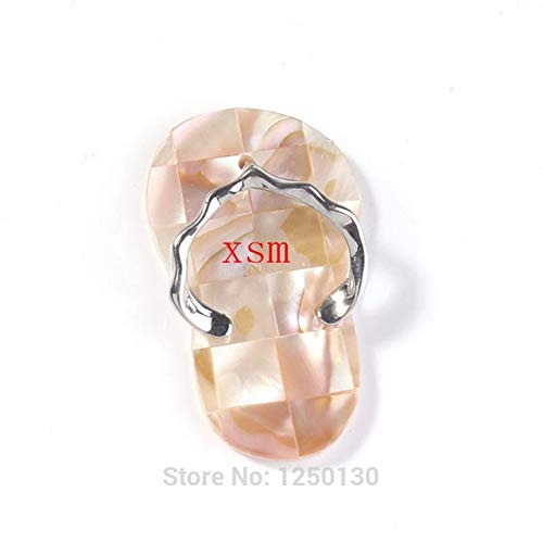 - Trendy-Beads Silver Plated Unique Design Natural Abalone Shell Slipper Shape Pendant Fashion Jewelry - (Metal Color: Yellow Abalone Shell)