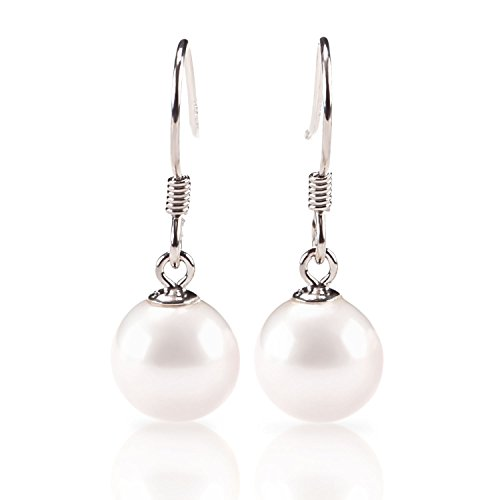 PAVOI Sterling Silver Shell Pearl Earrings Dangle Studs (Dangling Pearl Stud)