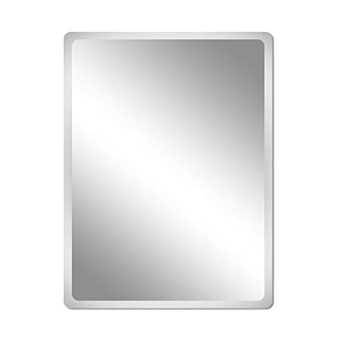 Beauty4U Frameless Rectangle Mirrors - 16.7 x 27.6inch Beveled Wall Mirror HD Vanity Make Up Mirror for Wall Décor ()