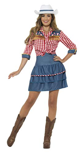 Smiffys Women's Rodeo Doll Costume, Blue, Medium -