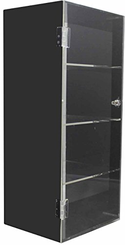 Acrylic counter top display case box lucite - black / clear rotating 360 with 4 shelves and - Display Sunglass Rotating
