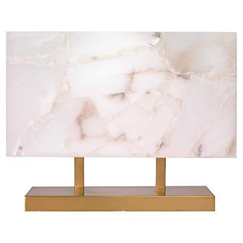 Kathy Kuo Home Hunter Modern Classic Rectangular Alabaster Shade Brass Metal Table Lamp