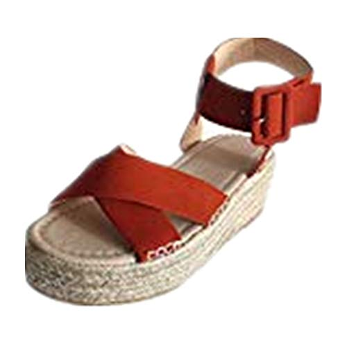 (Women's Ladies Fashion Casual Solid Wedges Casual Flat high Heel Buckle Strap Roman Shoes Sandals Orange)