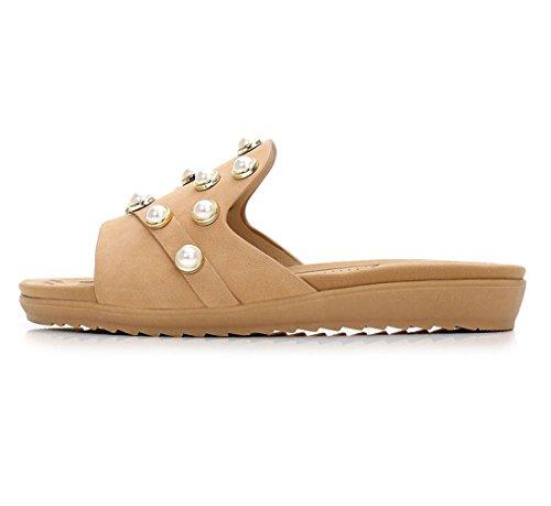 Salvaje Perlas Zapatillas Mujer Hebilla mujer fondo Amarillo Sandalias Verano de Ocio Zapatos Aqua y medias zapatillas plano de w6YaAEFUaq
