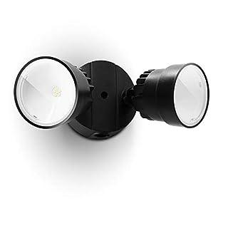 LUTEC P6221B 1130 Lumen 15 Watt LED Dual-Head Floodlight Outdoor, Switch Controlled Waterproof Exterior Security Wall Light for Patio, Garden,Yard-Black