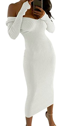 Knits Womens Off Bodycon Solid Cromoncent White Long Shoulder Dress Color Long Sleeve C8HAq6w