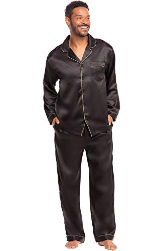 Alexander Del Rossa Men's Button Down Satin Pajama Set with Sleep Mask, Long Silky Pjs, Large Black with Gold Piping (A0752BLKLG)]()