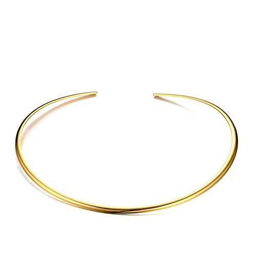 JAJAFOOK Womens Minimalist Round Golden Plated Stainless Steel Bar Necklace Smooth Neck Choker Collar