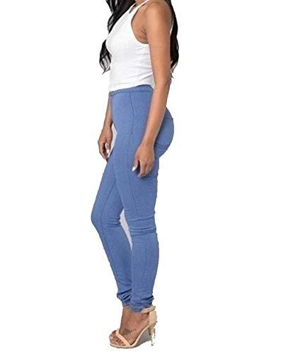 Cintura Estiramiento Botón Flacas Blau Pantalones Ajustado Polainas Las Lápiz Al Colores Delgado Del Mode Marca Mujeres De Los Sólidos Libre Aire Alta OtwYq8t