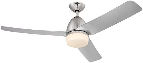 Westinghouse Lighting 7800100 Delancey Two 52-Inch Brushed Chrome Indoor DC Motor Ceiling Fan