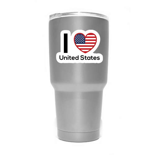 MKS0309 Two 3 Inch Decals Love United States Flag Decal Sticker Home Pride Travel Car Truck Van Bumper Window Laptop Cup Wall