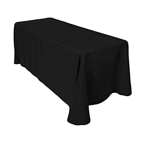 URBY 90 x 156 Inch Tablecloth Rectangular Polyester Table Cover Round Corner Black