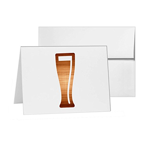 Weizen Glass Alcohol Bar Beer Booze Drink, Blank Card Invitation Pack, 15 cards at 4x6, Blank with White Envelopes Style - Folded Invitation 4 Bar Card