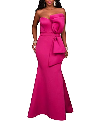 (SEBOWEL Women's Sexy Strapless Off Shoulder Bodycon Party Cocktail Ruffles Maxi Dress Rosy M)
