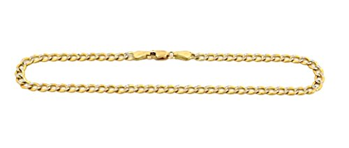 Real 10K Two Tone Yellow & White Gold Hollow Cuban Women Bracelet Anklet 2.0mm, 7