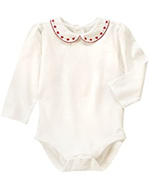Baby White Heart Collar Bodysuit