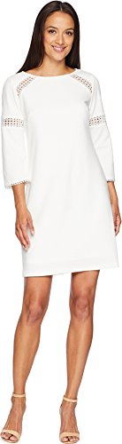 (Adrianna Papell Women's Knit Crepe LACE Trimmed Sheath Dress, Ivory 10)