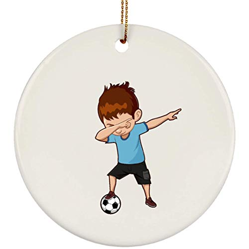 Weezag Soccer Boy Christmas Tree Ornaments Decorations, Dabbing Gifts for Soccer Lovers Football Players, Circle