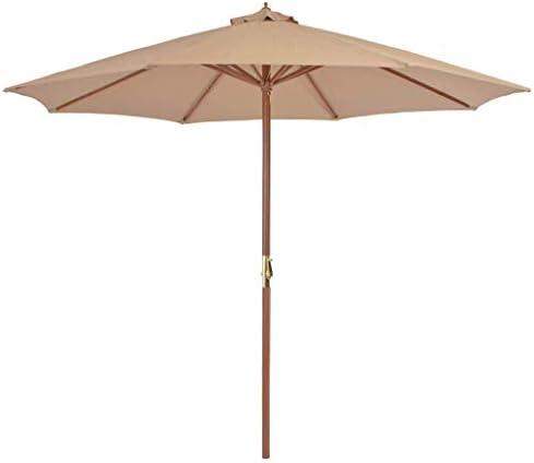 木製ポール付き屋外パラソル300 cmトープホームガーデン芝生ガーデン屋外生活屋外傘サンシェード