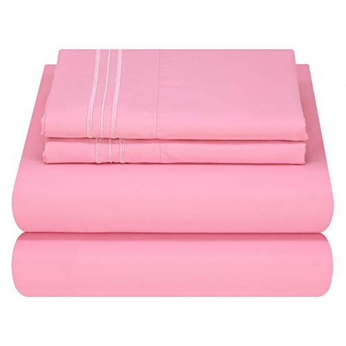 Mezzati Kids Toddler Teen Bedding - Soft and Comfortable Light and Bright Collection (Pink, Full Size) (Pink Sheet Set Full)