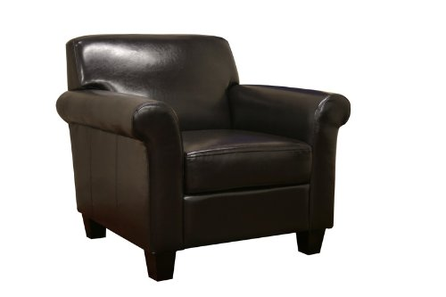 Baxton Studio Atticus Black-Brown Faux Leather Modern Club Chair