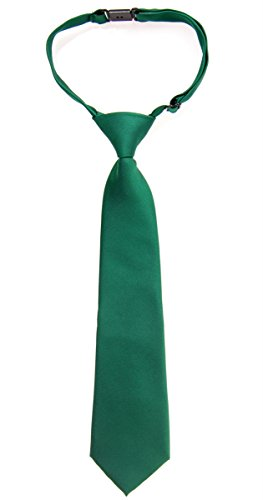 Retreez Solid Matte Color Woven Microfiber Pre-tied Boy's Tie - Dark Green - 24 months - 4 years ()